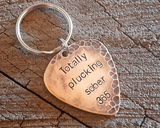 distressed bronze guitar pick keyring for sobriety celebration