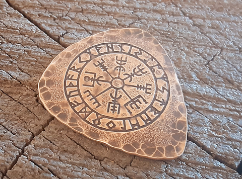 brone guitar pick - playable with viking runes