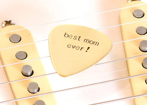 Guitar Pick for the Best Mom Ever in Bronze for Special Moms and Mother's Day