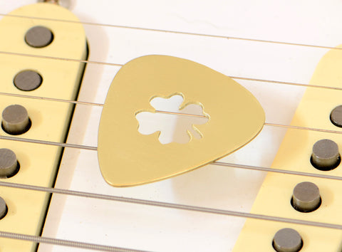 Brass Guitar Pick with Four Leaf Clover