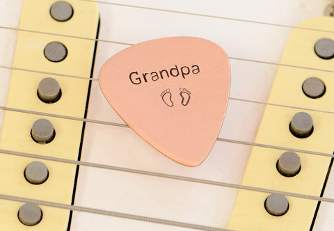Guitar Pick for a Rocking Grandpa in Copper