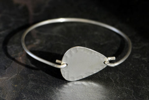Sterling Silver Tension Bangle with Hammered Guitar Pick