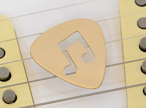 Beamed 8th Notes Bronze Guitar Pick with Musical Inspiration