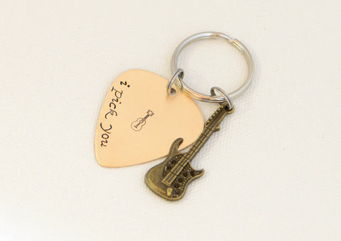 I pick you bronze guitar pick keychain with brass guitar charm