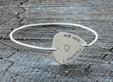 Guitar Pick Tension Bangle with I Plucking Love You and Wire Bracelet