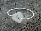 Sea Turtle Tension Bangle Rocking out a Hammered Sterling Silver Guitar Pick