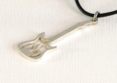 Guitar Necklace with Intricate Flames Handcrafted from Sterling Silver