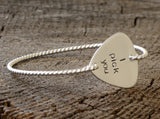 I Pick You Guitar Pick Tension Bangle with Twisted Wire all in Solid 925 Sterling Silver