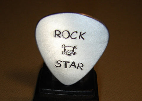Sterling Guitar Pick Handmade with Rock Star and Skull Stamps