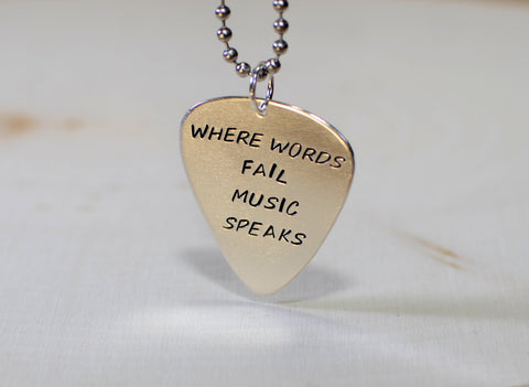 Where words fail music speaks sterling silver guitar pick pendant