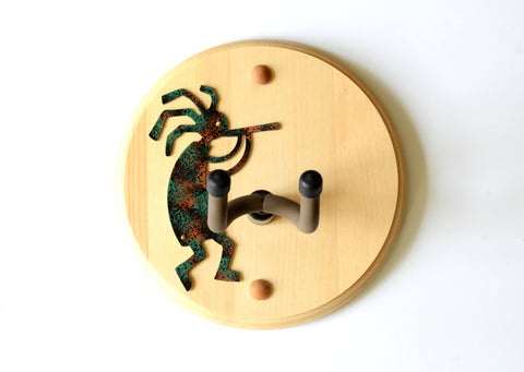 Painted Steel Kokopelli Guitar Wall Hanger in Pine