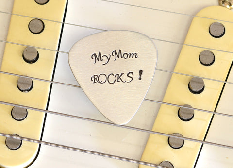 My Mom Rocks Guitar Pick for a Rocking Mom Handmade from Aluminum