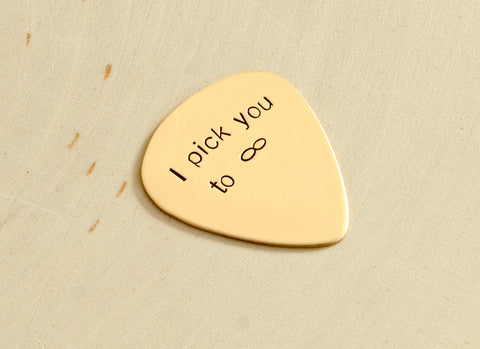 Infinity Guitar Pick in Bronze for Everlasting Love and Hand Stamped with I Pick You