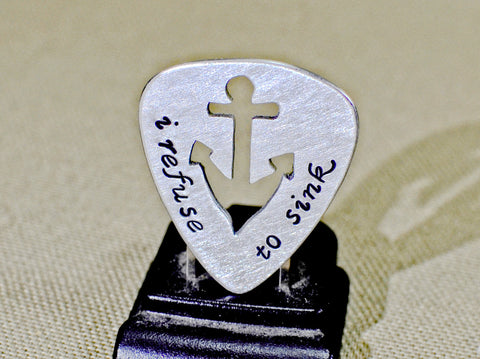 Refuse to sink sterling silver guitar pick with anchor cut out