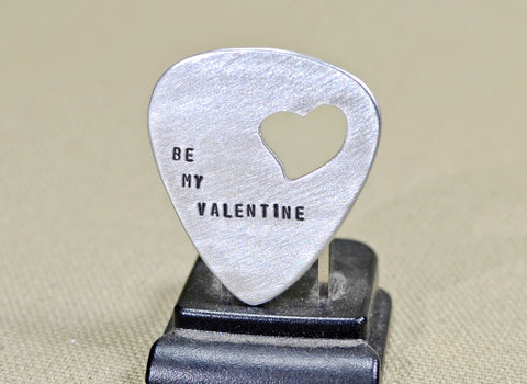 Be my Valentine aluminum guitar pick with a heart cut out