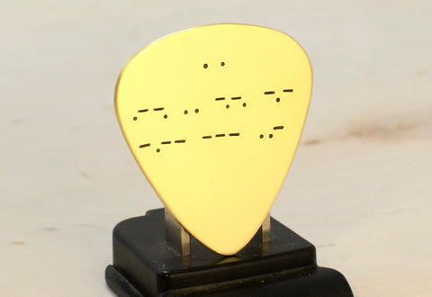 Morse Code Brass Guitar Pick with Personalized Message