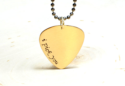 Golden Bronze Guitar Pick Necklace with I Pick You