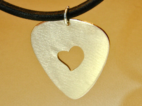 Guitar Pick Pendant with Heart Handmade from Bronze