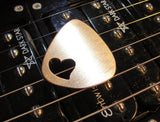 Love Guitar Pick in Bronze with Heart Cut Out