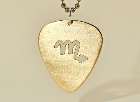 Zodiac necklace with bronze guitar pick and personalized horoscope