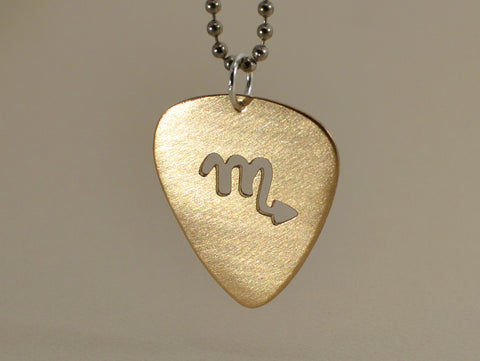 14k gold guitar pick necklace with cut out zodiac symbol nicis 14k gold guitar pick necklace with cut out zodiac symbol mozeypictures Image collections