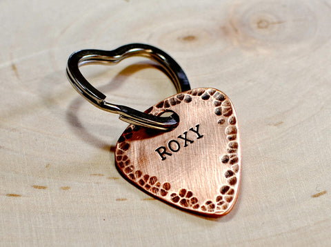 Copper guitar pick dog tag with heart ring