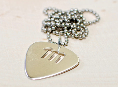 Personalized Sterling Silver Guitar Pick Pendant with Custom Letter Cut Out