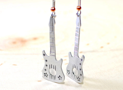 Guitar dangle earrings handmade to rock out