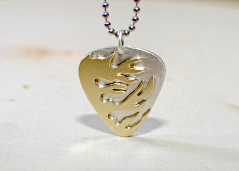 Sterling silver flaming guitar pick necklace handmade with blazing brass