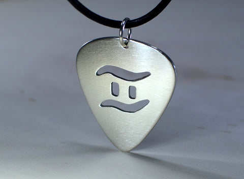 Sterling Silver Guitar Pick Pendant with Personalized Zodiac Cut Out