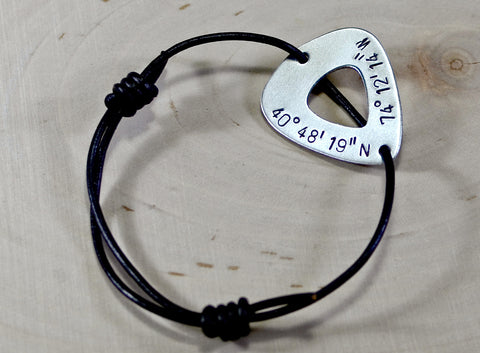 Latitude longitude aluminum guitar pick bracelet with personalized coordinates