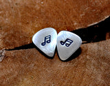Guitar Pick Stud Earrings Handmade from Sterling Silver with Music Notes