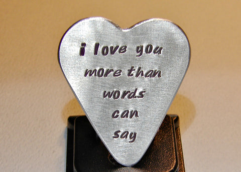 Guitar Pick Handmade from Aluminum in Heart Shape with More Love Than Words Can Say
