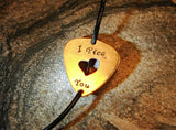 Bronze guitar pick leather wrap bracelet with I pick you and heart cut out