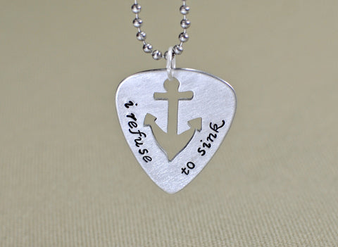 Refuse to sink guitar pick necklace