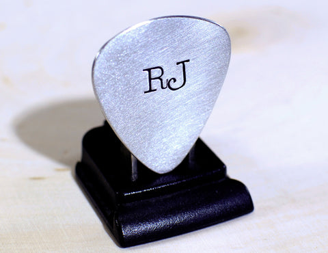 Personalized Guitar Pick Hand Stamped with Large Initials in Aluminum