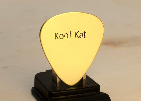 Kool Kat Brass Guitar Pick Handmade for Groovy Vibes