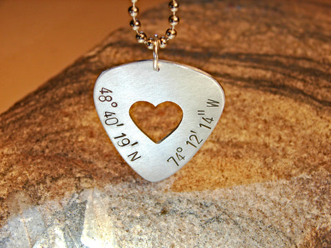 Latitude longitude guitar pick necklace with heart in sterling silver