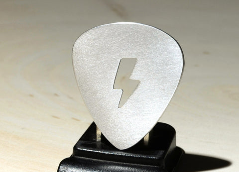 Lightening Bolt Guitar Pick Handmade from aluminum to Electrify Charge and Shock Your Music