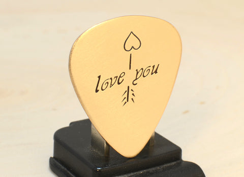 Bronze Love Guitar Pick with Arrow and Heart for Anniversaries and Valentines Day
