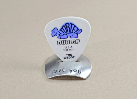 Aluminum guitar pick stand with added love