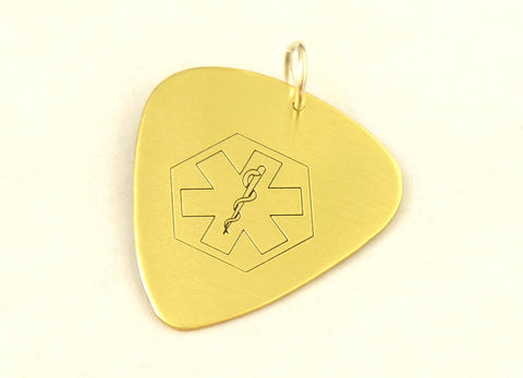 Brass Medical Alert Guitar Pick with Personalized Alerts and Allergies