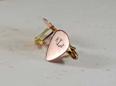 Copper monogrammed handmade guitar pick cuff links