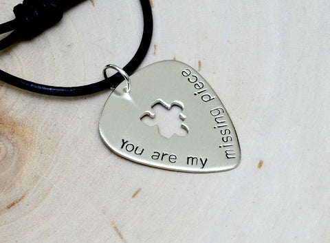 You are my missing piece sterling silver guitar pick necklace with a puzzle cut out