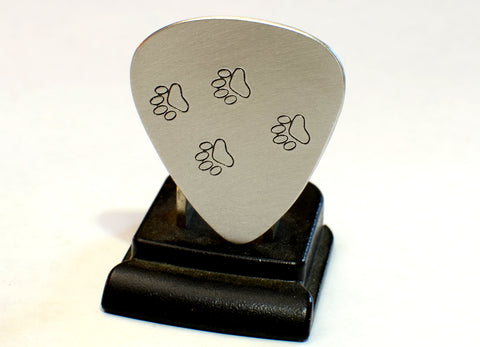 Guitar Pick Handmade from Aluminum with Paw Prints