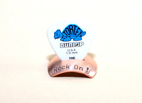 Copper guitar pick stand rock on edition