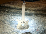 You rock sterling silver guitar pendant handmade for a true guitarist