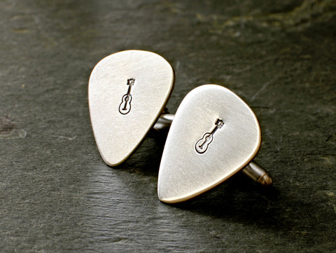 Guitar pick sterling silver cuff links for musical inspiration