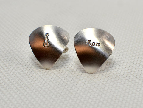 Personalized sterling silver guitar pick cuff links