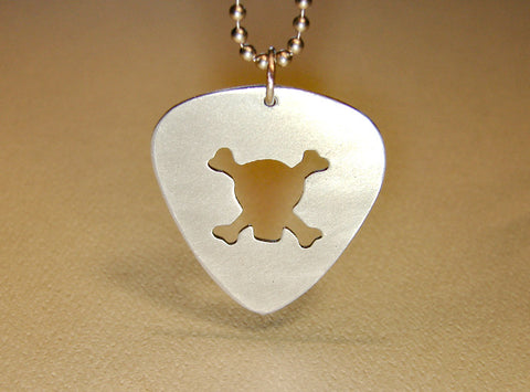 Skull and crossbone sterling silver guitar pick necklace